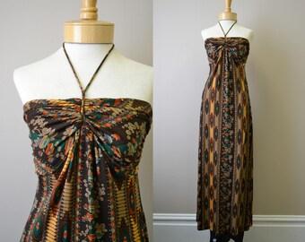 1970s Joy Stevens Halter Maxi Dress