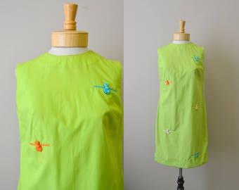 1960s Lime Green Shift Dress