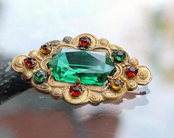 Czech Glass and Brass Brooch, Jewel Tones