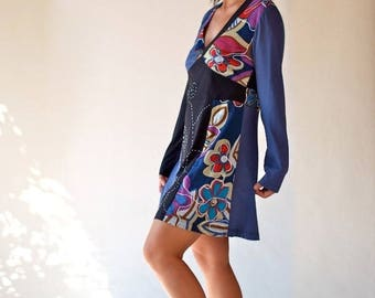 Dress tunic/blouse shirt / recycled tunic dress/long sleeves