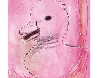12x16 Inch Nursery Print - Duck, Pink