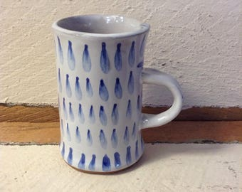 Coffee Mug in white with cobalt brushwork