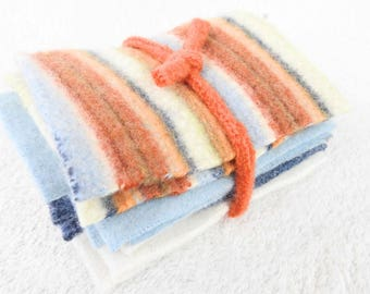 Coordinating Felted Sweater Wool Small Scraps ORANGE & BLUE Striped Wool Fabric Pieces Craft Supplies Destash from WormeWoole