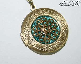 Pendant for a photo with your message personal with Golden Flower (v03)