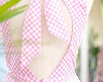 Alice cut off back dress pink blue plaid dress pink dress yellow party dress navy sundress blue bridesmaid dresses pink bridesmaid dress