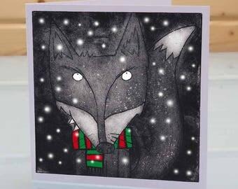 Fox Christmas Card - Mr Fox, blank inside card, animal humour Christmas card, wildlife Christmas card, fox lover Christmas xmas card