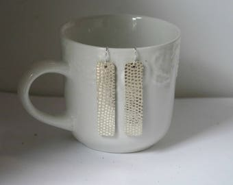 Silver Rectangle Rectangle Drop Earrings