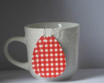 Red White Checkered Gingham Leather Teardrop Drop Earrings