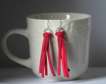 Hot Pink Fuchsia Leather Tassel Earrings