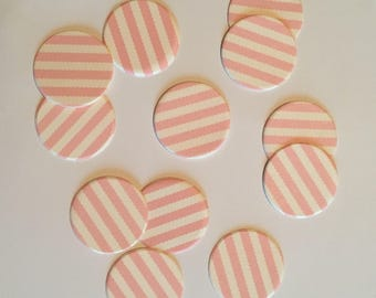 """1"""" pre-cut CIRCLE CONFETTI (100 pc)  --  Rose Pink/Ivory Stripes --  create you own garland, envelope seals, favor tags & more!"""