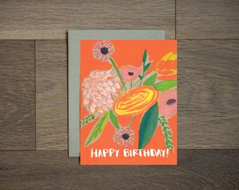 Flower Birthday card - floral art- illustration - coral and red- hand lettering