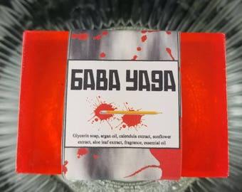 BABA YAGA Glycerin Soap Bar, Blood Orange and Smoke Scent, Shave & Shampoo, Large Red Soap Bar, Argan Oil, Beard Wash, Unisex Men's Women's
