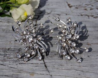 Mod Starburst Clear Rhinestone Statement Earrings