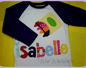 Personalized Back to School Shirt- Boys Girls- Crayon- Customized- Fall Winter-Kindergarten Tee- 1st Day of school- 1st 2nd 3rd Grade