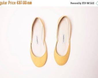 Summer Sale Butter Yellow Leather Ballet Flats | Pointe Style Shoes | Leather Shoes | Butter Yellow | Last Pair size 43 | Ready to Ship