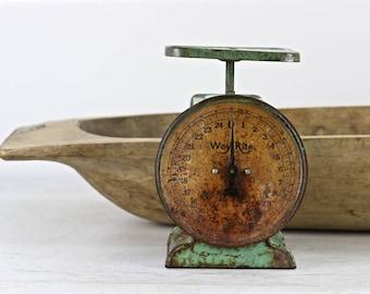Vintage Scale, Kitchen Scale, Aqua Scale, Green Scale, Rustic Kitchen Scale, Primitive Scale, Scale, Farmhouse Decor, Old Scale Rustic Decor