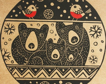 Bear Christmas, Original Hand Printed Card, Christmas Linocut Card, Blank Greeting Card, Brown Kraft Card, Free Postage in UK,