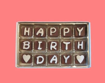 ship AFTER 8/7 Birthday Gift for Women Boy Girl Men Gift for Coworker Boss Happy Birthday Cubic Chocolate Message Letters Cute Funny AK APO