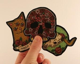 animal skulls flower stickers laptop labels tags illustration