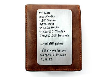 Sterling Silver Wallet Insert Card, 25th twenty five year Anniversary Gift, boyfriend husband wife gift, Boyfriend Gift