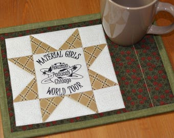 Cotton Fabric Coaster, Quilted mug mat, Sewing Sayings Mug Rug