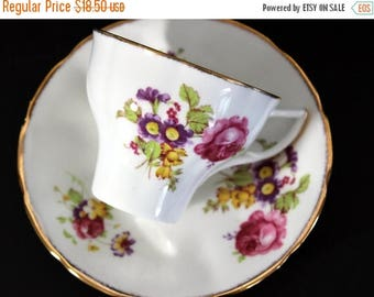 ON SALE Bone China Teacup, Vintage Tea Cup and Saucer, Pink Roses, Jason England 13322