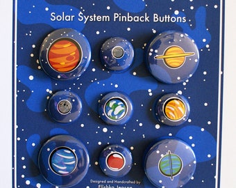Geeky Nerdy Solar System Planets Space Astronomy Pinback Button Gift Set | Gifts Under 15 Dollars