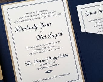 Elegant Wedding Invitation - Pocket Wedding Invitation - Navy Wedding Invitation - Nautical Wedding Invitation - Style N-1 - SAMPLE