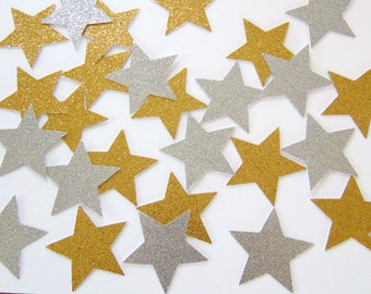 25 Glitter Gold or Silver Large Star Confetti, Birthday Party Decorations, Holiday Decoration, Paper Crafts and Party Supplies - No1128