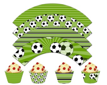 Soccer Cupcake Wrappers, Printable Cupcake Wrappers,Soccer Theme Party Decor - Instant Download-DP436