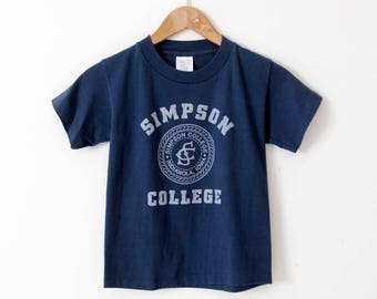 vintage Simpson College t-shirt, small school tee,