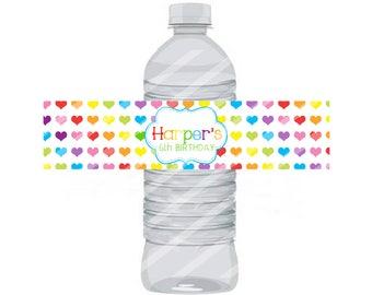 Rainbow Water Bottle Label 8.5x11 JPEG sheet Personalized