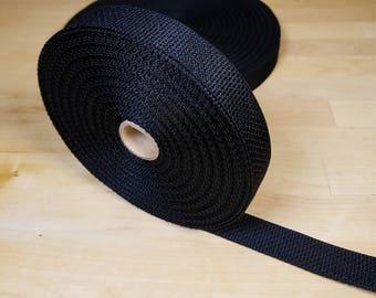 1 Inch Polypropylene webbing BLACK  By The Yard Dog collar pet supplies strap material