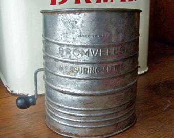 Vintage Bromwell's Flour Sifter Retro Kitchen Country Kitchen Baking Kitchen Decor 1950s