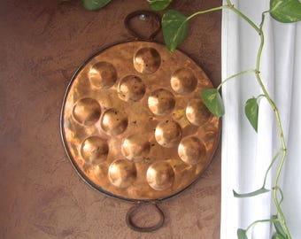 Vintage Copper Escargot Pan Poaching Pan HUGE Rustic Kitchen Decor French Farmhouse 1910s