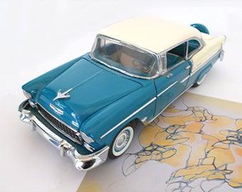 Franklin Mint Die-Cast 1955 Chevrolet Belair 2-Door Hard Top — Turquoise & Ivory