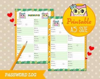 PRINTABLE A5 Size Password Log Trakcer Cute Owl Refills for Filofax Kikki.K Louis Vuitton Instant Download