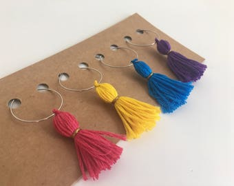 Tassel Wine Glass Charms (Bright Colors)