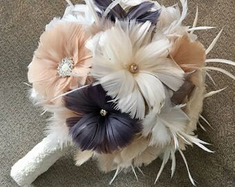 Alternative Bouquet,Brooch Wedding bouquet,Feather Bridal Bouquet,Gatsby Wedding,Champagne Bouquet,Grey Wedding Bouquet,Vintage bouquet