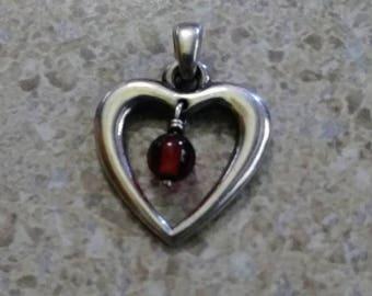James Avery Sterling Silver Vintage Rare Retired Heart w/Garnet Pendant/Charm