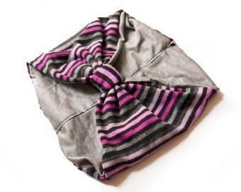 HEADBAND-stripes and light gray- reversible