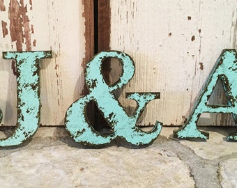 "Rustic Letter 12"" Tall Name Personalize Ampersand Cottage Country Style Home Decor shabby chic Joanna Gaines Alphabet Photo prop Wedding"