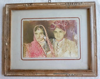 Vintage Photo of Bride and Groom in India Handpainted Photo