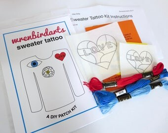 Embroidered Clothing DIY Embroidery Kit Embroidered Heart Patch Modern Heart Embroidery