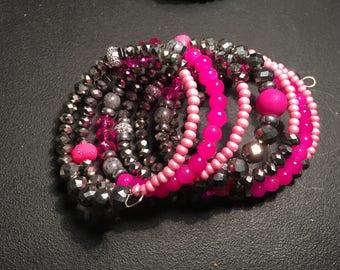 Hot Pink Lights Beaded Bracelet