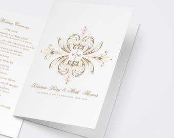 Wedding Program PDF, Blush and Gold Wedding Program, Order of Service, Ceremony Program, Catholic Program, Catholic Wedding, Printable