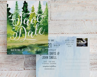 Lake Save the Dates, Lake Wedding, Printable Save the Dates, Save the Date Postcards, Forest Save the Date, Mountain Save the Date