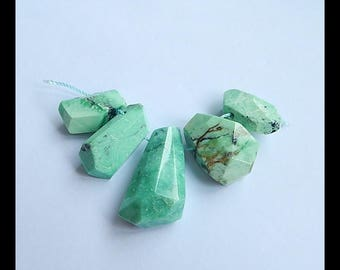 Green Turquoise Gemstone Faceted Loose Beads,32x16x11mm,20x11x8mm,21.7g(h0440)