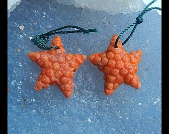 New,Carved Orange Coral Starfish Earring Bead,20x18x4mm,2.65g(CE025)