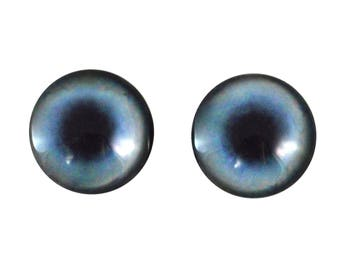 20mm Blue Husky Dog Glass Eyes Pair of Cabochons - Round Animal Eyes for Doll or Jewelry Making - Set of 2